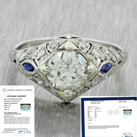 1920s Antique Art Deco Platinum 1.55ct Diamond Sapphire Filigree Engagement Ring