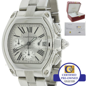 Cartier Roadster XL Steel Silver Chronograph Automatic 43mm Watch 2618 Box Papers