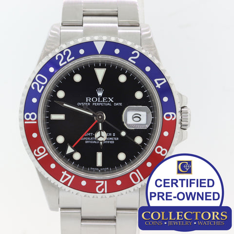 Rolex GMT Master II 16710 Pepsi Steel Blue Red Bezel No Holes 40mm SEL Watch S8
