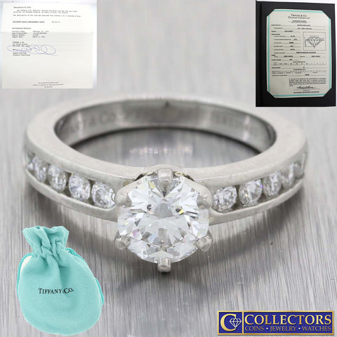 The Tiffany & Co. Setting Platinum 1.30ctw Diamond Engagement Ring w/Papers G8