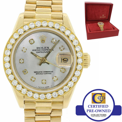 Ladies Rolex DateJust President 69178 18K Gold Diamond Bezel MOP Watch w Box J8
