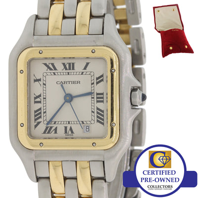 Ladies Cartier Panthere 18k Gold Steel 2 Row Two Tone 27mm Date Watch w Pouch F8