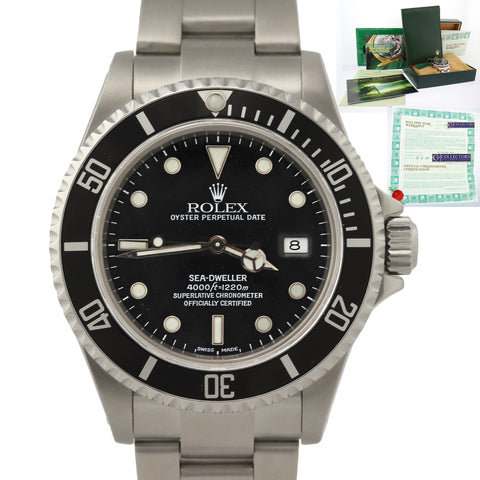 2008 SVC Rolex Sea-Dweller Steel 16600 Date Black Dive Watch Box Papers Kit N8