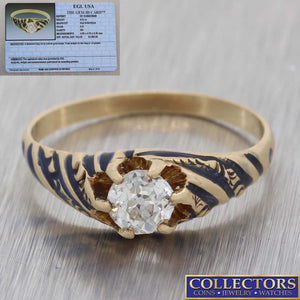 1880 Antique Victorian 14k Yellow Gold .51ct Diamond Enamel Engagement Ring EGL Y8
