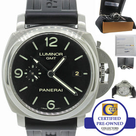 COMPLETE 2015 Panerai PAM 320 Q Luminor 1950 GMT 3 Day Steel Automatic 44mm Watch PAM00320 B&P
