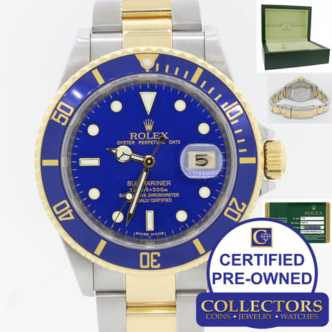 Rolex Submariner 16613 Steel 18k Engraved Blue Warranty Papers Box Watch S8