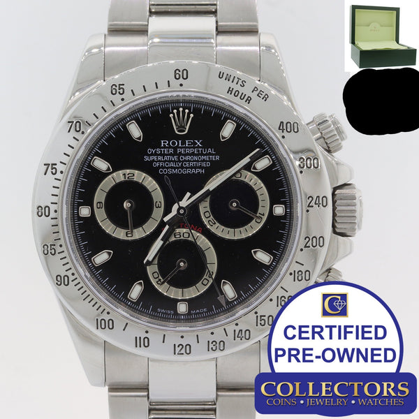 Rolex Daytona Cosmograph 116520 Black Steel Oyster Chronograph Watch w Box G8