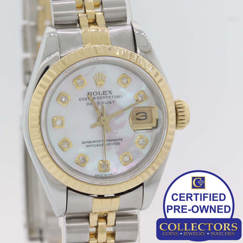 Ladies Rolex DateJust Date 67193 Two Tone 18k Gold 26mm Diamond MOP Watch G8