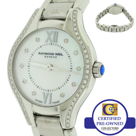 Raymond Weil Noemia Diamond Ladies 5124 24mm Stainless Steel Mother Pearl Watch