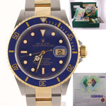 PAPERS 2002 MINT Rolex Submariner 16613 Two Tone Steel 18k Gold Blue Watch Box
