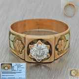 1880s Antique Victorian 14k Solid Yellow Gold .50ct Diamond Wide Band Ring EGL