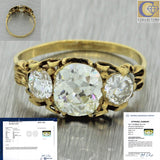 1880s Antique Victorian 14k Solid Yellow Gold 1.77ctw Diamond Engagement Ring EGL