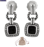 David Yurman 925 Sterling Silver Black Onyx Diamond Albion Dangle Earrings