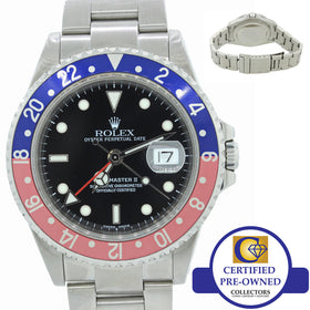 2002 Rolex GMT-Master II Pepsi Blue Red Stainless Steel 16710 Date SEL Y Watch