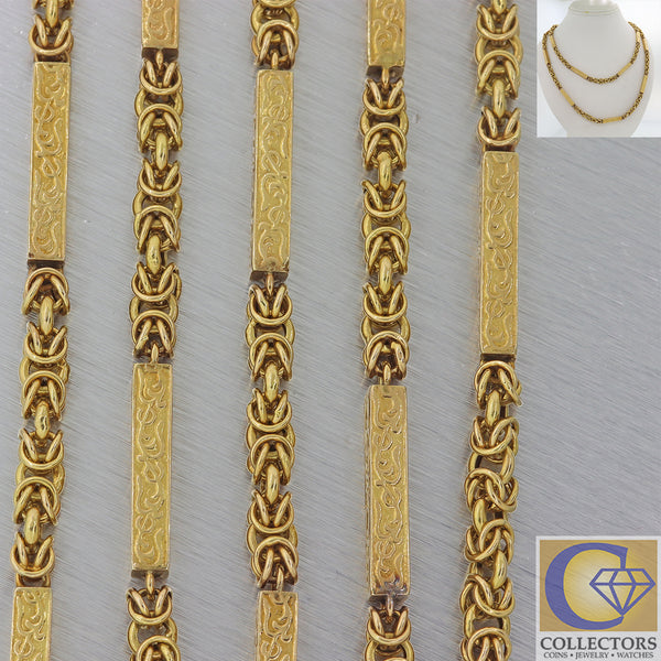 1860s Antique Victorian 15k Yellow Gold  6mm Long Bar Link Chain Necklace F8 60""