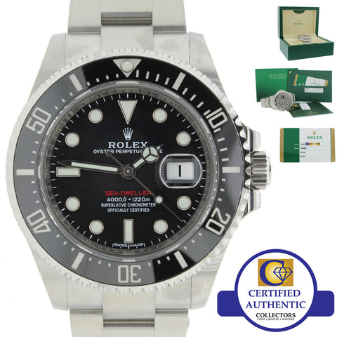 2017 New Rolex Sea-Dweller 4000 Black Ceramic 126600 Steel Dive 43mm Watch B&P