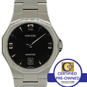 Men's Concord Mariner 40mm SS Black Dial Date Swiss Quartz Watch 1331910