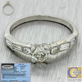 1920s Antique Art Deco Solid Platinum .88ctw Old European Diamond Ring EGL