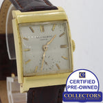 VTG Patek Philippe Solid 18k Yellow Gold Square Manual 26mm Silver Watch E8