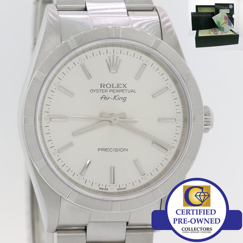 2006 Rolex Oyster Perpetual Air-King Silver 34mm Precision Watch 14010M B&P A8