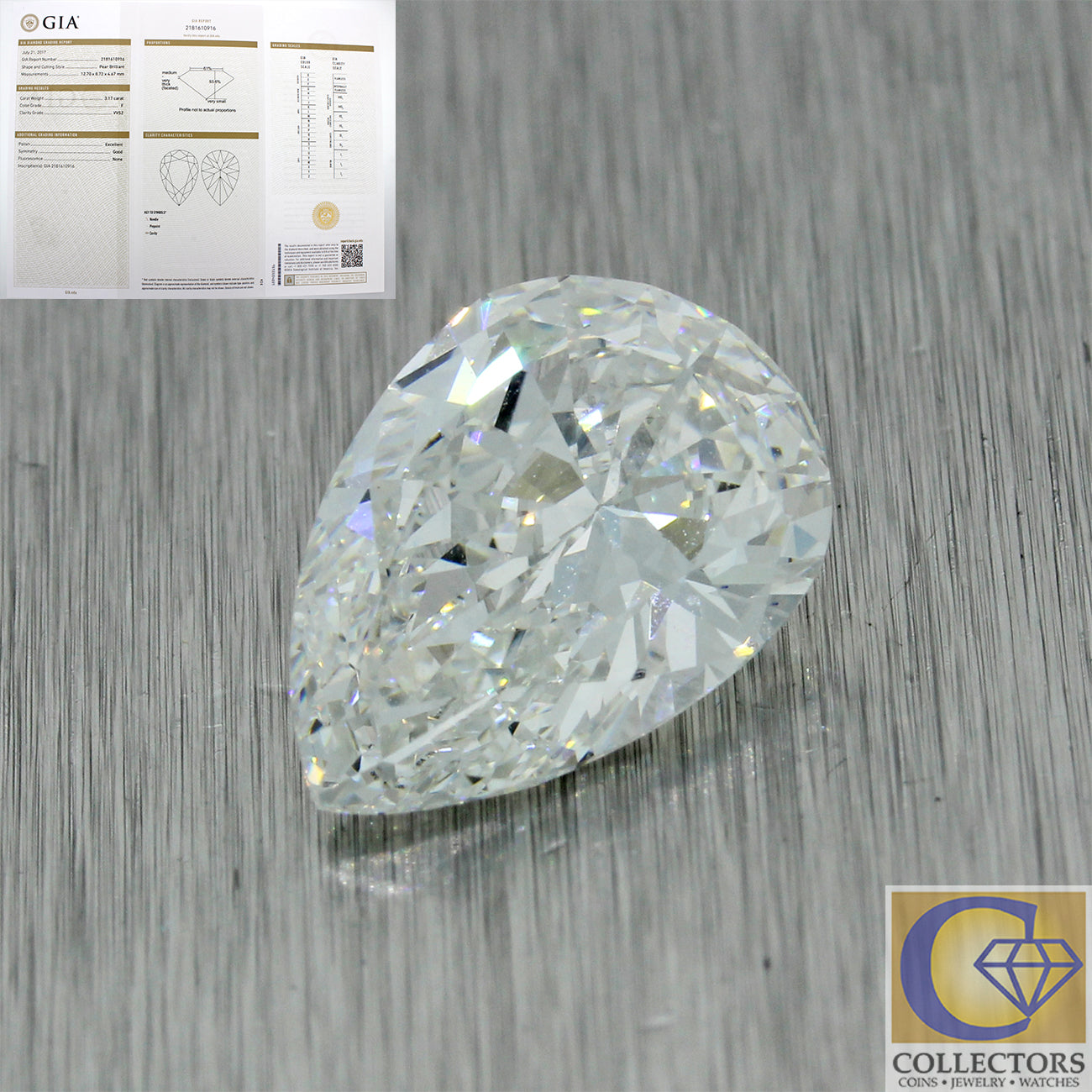 3.17ct GIA Certified Pear Shape Brilliant Cut F VVS2 Natural Modern Loose Diamond