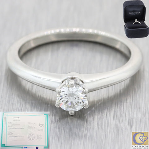 The Tiffany & Co. Setting Platinum .30ctw Diamond Engagement Ring Box Papers A8