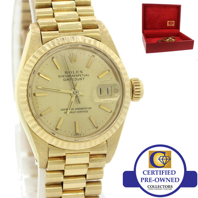 VTG Ladies Rolex DateJust President 26mm 6917 18K Yellow Gold Watch w Box 69178