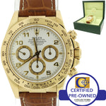 Rolex Daytona Zenith Cosmograph 16518 18k Gold White Leather Chrono Watch w/ Box
