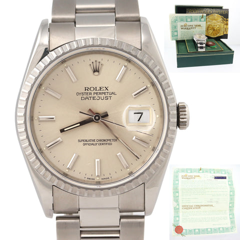 MINT Rolex DateJust 36mm 16220 Steel Silver Oyster Date Watch Box Papers N8