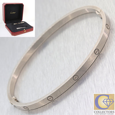 Authentic Cartier Love 18k White Gold Screw Bangle Bracelet THIN wBox Size 19