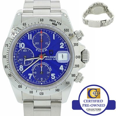 Tudor Tiger Prince Date 79280P Stainless Steel Blue Chronograph 40mm Dive Watch