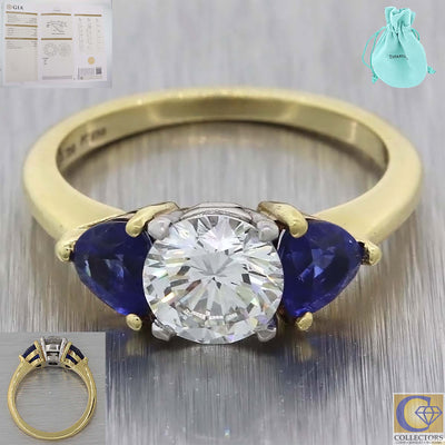 Tiffany & Co. 18k Yellow Gold Platinum 1.11ct GIA Diamond Sapphire Engagement Ring A8