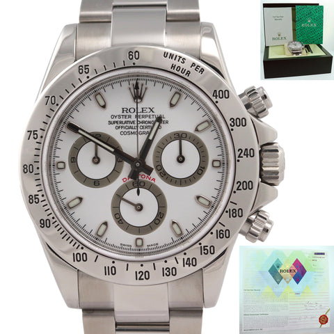 WARRANTY PAPERS Rolex Daytona Cosmograph 116520 White Box N8