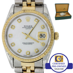 Rolex Date 18k Gold Steel Diamond 34mm Engine Turned Bezel Watch 15223 w/Box