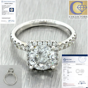 Modern 18k Solid White Gold 2.71ctw Diamond Halo Engagement Ring EGL