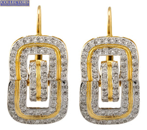 Lovely Ladies Modernist 14K Yellow Gold 1.44ctw Diamond Moveable Drop Earrings