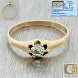1880s Antique Victorian 9ct Solid Gold .32ct Diamond Engagement Ring EGL
