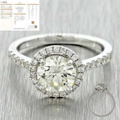 Modern Estate 18k Solid White Gold 1.89ctw Diamond Halo Engagement Ring GIA