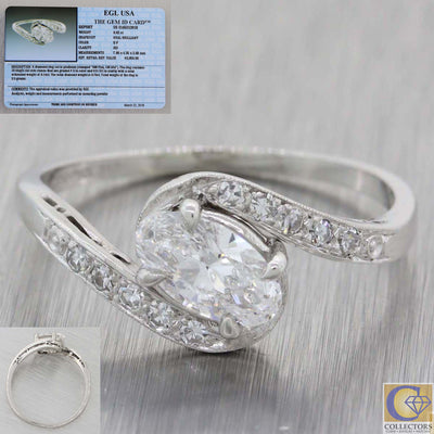 Vintage Estate Platinum .62ct Oval Diamond Bypass Engagement Ring EGL A8 PL