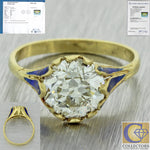 1880s Antique Victorian 18k Yellow Gold 2.6ct Diamond Enamel Engagement Ring A1