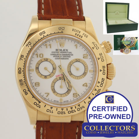 Rolex Daytona 116518 White Dial 18k Yellow Gold Chronograph N8