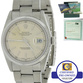 MINT VTG Rolex DateJust 36mm 16200 Steel Silver Dial Watch Box & Papers 16220