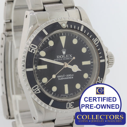 1977 VTG Rolex Submariner 5513 Serif Feet First Matte Maxi Black Steel Watch G8