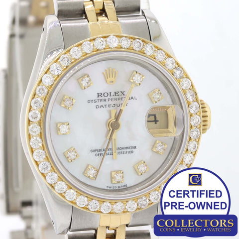 Ladies Rolex DateJust 26mm 69163 Two Tone 18k Gold Diamond MOP Watch G8