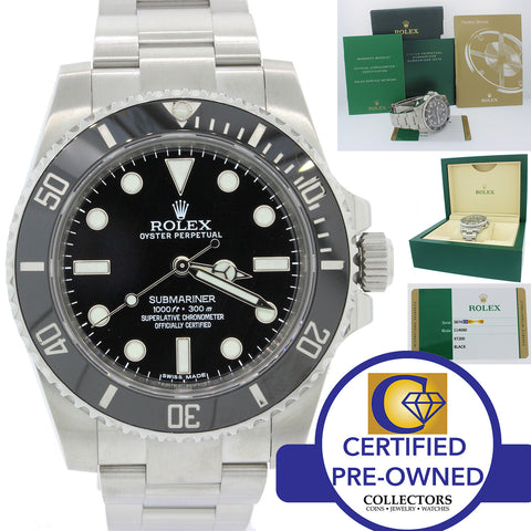 2016 Rolex Submariner No-Date 114060 Steel Black Ceramic Watch Box Papers N8