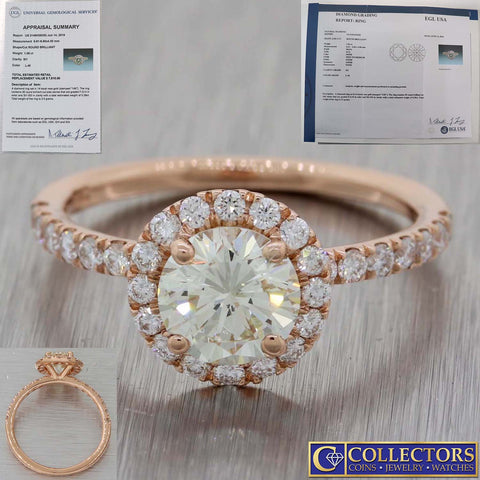 Modern 14k Rose Gold 1.44ctw Diamond Halo Engagement Ring EGL-USA $7610 E8