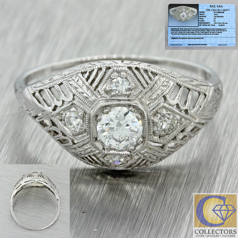 1930s Antique Art Deco 18k Solid White Gold .52ctw Diamond Dome Ring EGL