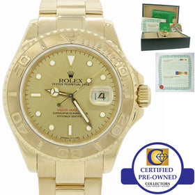 Rolex Yacht-Master Solid 18k Yellow Gold 16628 40mm U Date Watch Box & Papers