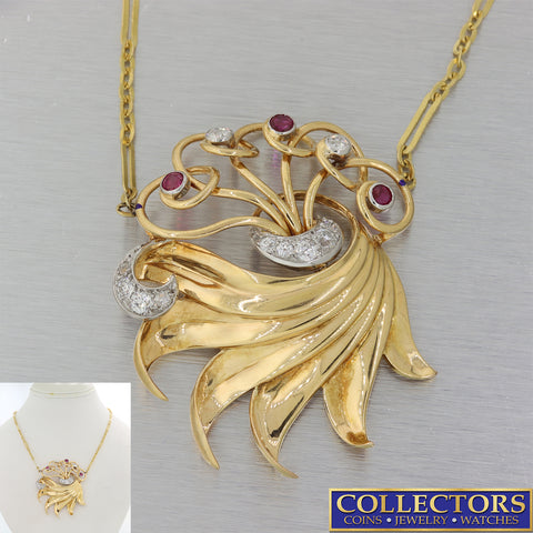 1930s Antique Art Deco 18k Yellow Gold 1.30ctw Ruby Diamond Pendant Necklace Y8