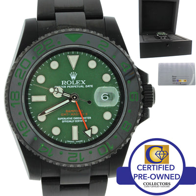 Rolex Bamford Verde Black PVD Ceramic GMT MasterII Green 116710 Watch Box Papers